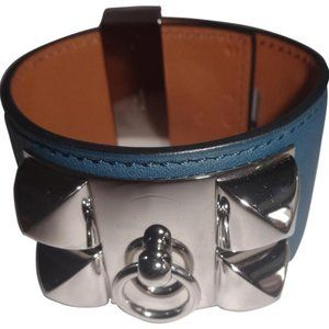 Hermès Blue Collier De Chien Leather Bracelet